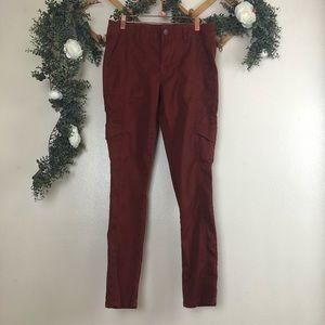 Cabi Red/Orange Skinny Cargo Pants Size 8